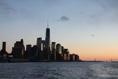 降低曼哈顿黄昏 免版税库存图片