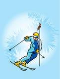 降低滑雪者 免版税库存图片