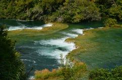 降低瀑布, Krka国家公园,克罗地亚 免版税图库摄影