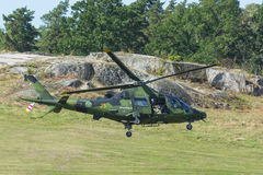 降低瑞典军用的直升机 库存照片