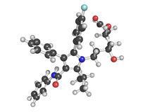 降低药物(斯塔京类),化学制品的Atorvastatin胆固醇 免版税库存图片