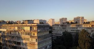 降低街市有都市风景日落视图 4k 4096 x 2160映象点 影视素材