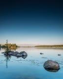 降低Buckhorn湖日落画象 库存照片