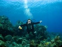 降序潜水员礁石水肺微笑 免版税库存图片