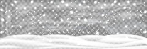 降雪和一点雪与在透明背景隔绝的雪漂泊 大雪,雪花用不同的形状 皇族释放例证