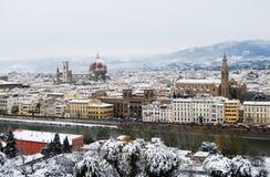 降雪在佛罗伦萨 库存图片