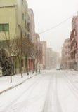 降雪在保加利亚波摩莱, 12月31日 免版税库存照片