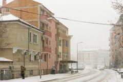 降雪在保加利亚波摩莱, 12月31日 库存图片