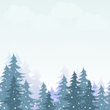 降雪在冬天森林里 免版税图库摄影