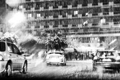 降雪在城市 免版税图库摄影
