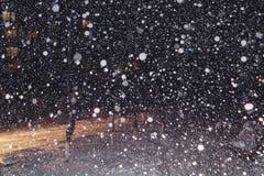 降雪在晚上 免版税库存照片