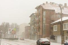 降雪在波摩莱, 12月31日的保加利亚 库存图片
