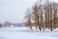 降雪的冻池塘,凯瑟琳公园,普希金 免版税库存照片
