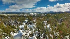 降雪的山 免版税库存图片