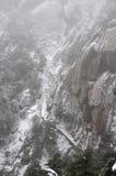 降雪的登上黄山在中国 库存照片