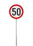 限速在白色隔绝的路标 免版税库存图片
