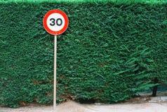 限速标志有绿色叶子背景 免版税库存图片