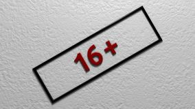 年限` 16+ ` 数字式例证 3d翻译 免版税库存照片