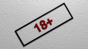 年限` 18+ ` 数字式例证 3d翻译 免版税库存图片