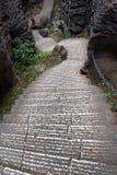 陡峭的台阶在士林向森林,举世闻名的自然石灰岩地区常见的地形区域,中国扔石头 免版税库存图片