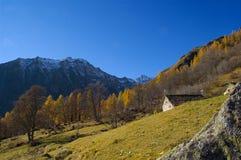 陡峭的山腰秋天 库存照片