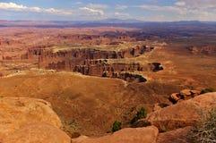 陡峭的峡谷鸟瞰图从高mesa,峡谷地国家公园,犹他,美国的顶端 免版税库存照片