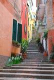 陡峭的步和酒瓶子,意大利 免版税库存图片