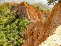 陡峭的石灰石倾斜在森林里 免版税库存图片