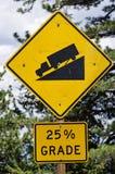 陡峭的路标 库存图片