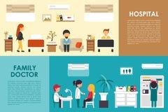 医院和家庭医生平的医院内部概念网导航例证 护士,患者,医疗保健医生, 库存例证