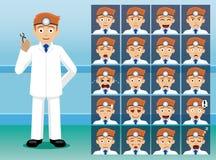 医院牙医漫画人物情感面孔 向量例证