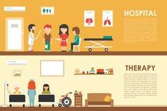 医院疗法平的医疗医院内部概念网传染媒介例证 患者,队列,医学医生, 图库摄影