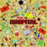 医院线艺术设计传染媒介例证 免版税库存照片