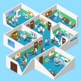 医院设施内部等轴测图海报 向量例证