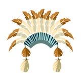 院长与羽毛的战争帽子,当地美洲印第安人文化标志,从北美的种族对象隔绝了象 皇族释放例证
