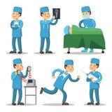 医院医护人员字符 外科医生Cartoon医生 库存例证