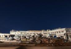 医院结构在龙卷风以后依然是 图库摄影