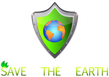 除在金属的绿土行星之外保护按钮 库存图片