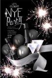 除夕党与闪烁发光物的邀请卡片,瓶香槟,丝带和玻璃 免版税库存图片