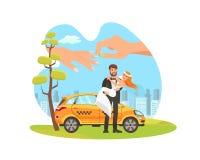 除草的平的动画片例证租车 皇族释放例证