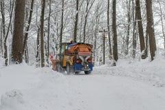 除雪机后面视图 免版税库存照片