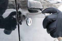 除霜的汽车锁 库存照片