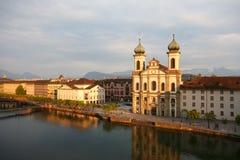 阴险的人教会在卢赛恩在瑞士 免版税库存照片