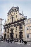阴险的人的天主教会在利沃夫州 免版税库存照片