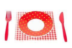陶器刀叉餐具塑料 免版税库存图片