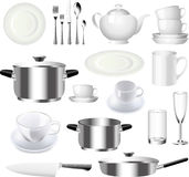 陶器和厨房商品集合 免版税库存图片