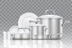 陶器和炊具现实传染媒介象集合 向量例证