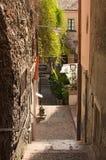 陶尔米纳一个典型狭窄的胡同  西西里岛 意大利 免版税库存图片