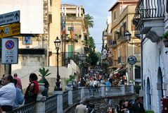 陶尔米纳市在西西里岛,意大利 免版税图库摄影