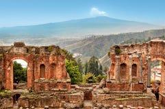 陶尔米纳,西西里岛,意大利罗马剧院  免版税库存照片